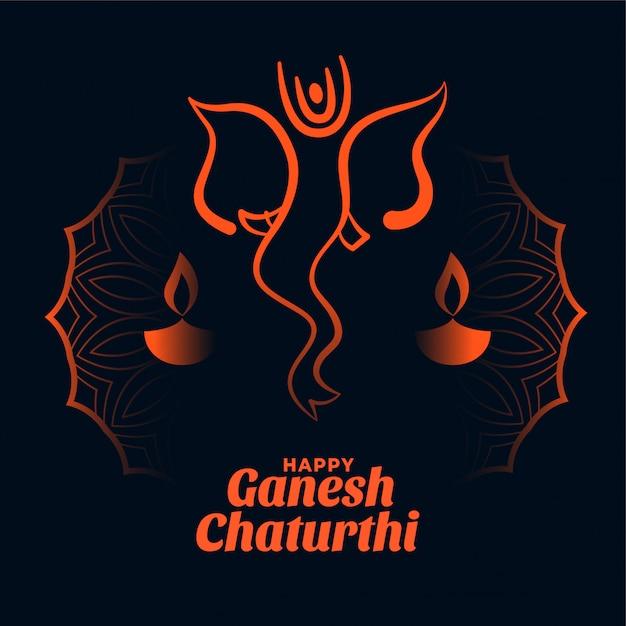 Gelukkig ganesh chaturthi festival kaart ontwerp Gratis Vector