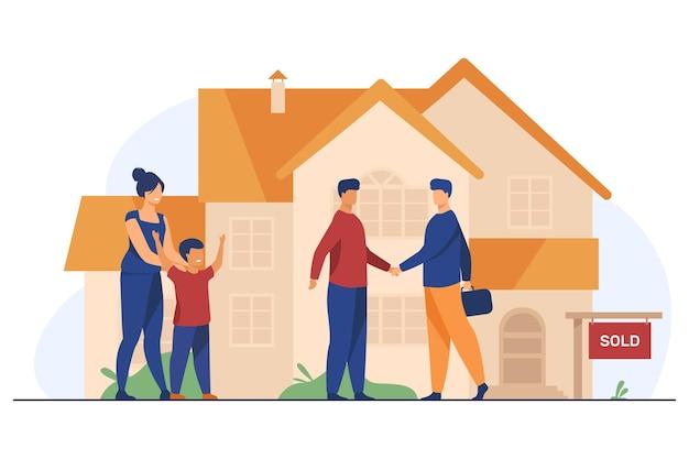 Gelukkig gezin met kind nieuw huis kopen Gratis Vector