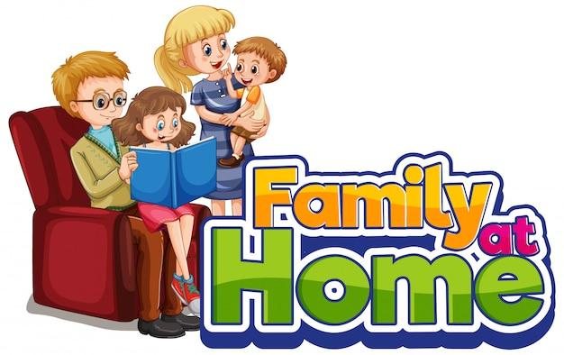 Gelukkig gezin thuis blijven Gratis Vector