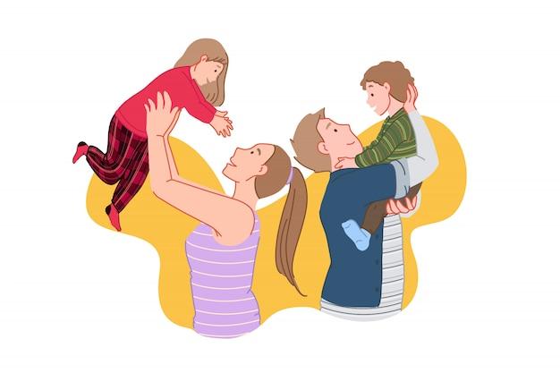 Gelukkig gezin, vreugdevolle vergadering, kinderen tijd concept Premium Vector