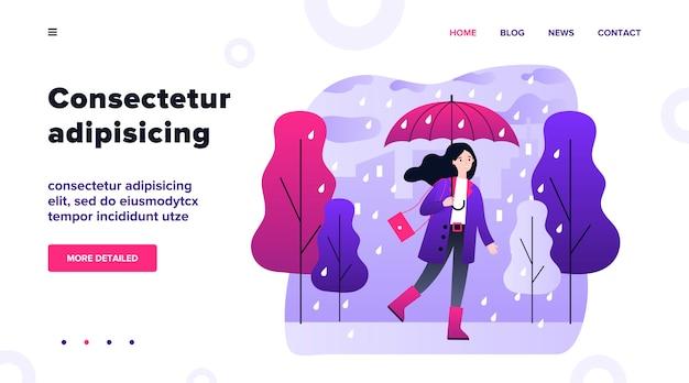Gelukkig glimlachend meisje dat met paraplu in regenachtige dagillustratie loopt. vrouw die openlucht in dalend weer blijft. vrouwelijk karakter dat in regen gaat. seizoen, herfst en landschap concept Premium Vector