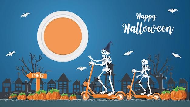 Gelukkig halloween-concept met skeletten die op een elektrische scooter rijden, gaan 's nachts feesten. Premium Vector