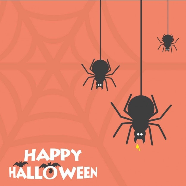 Gelukkig halloween enge spin-kaart Gratis Vector