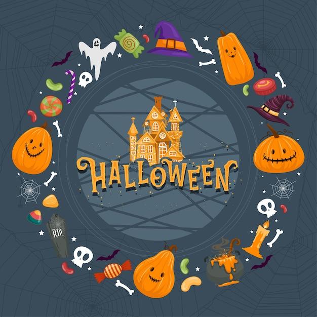 Gelukkig halloween-feest Gratis Vector