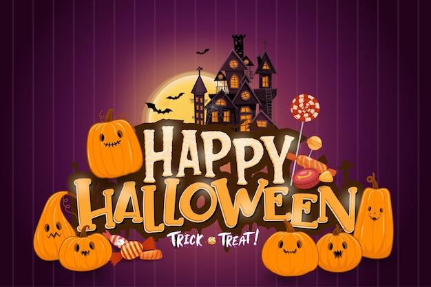 Gelukkig halloween-malplaatje als achtergrond in de duisternis met pompoen Gratis Vector