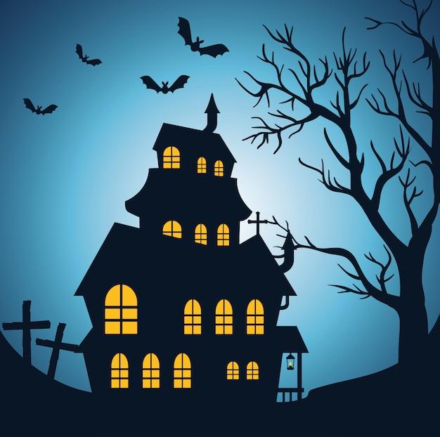 Gelukkig halloween met betoverd kasteel Gratis Vector