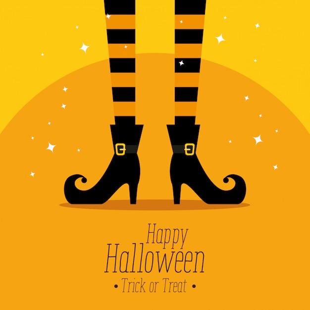 Gelukkig halloween met heksenvoeten Gratis Vector