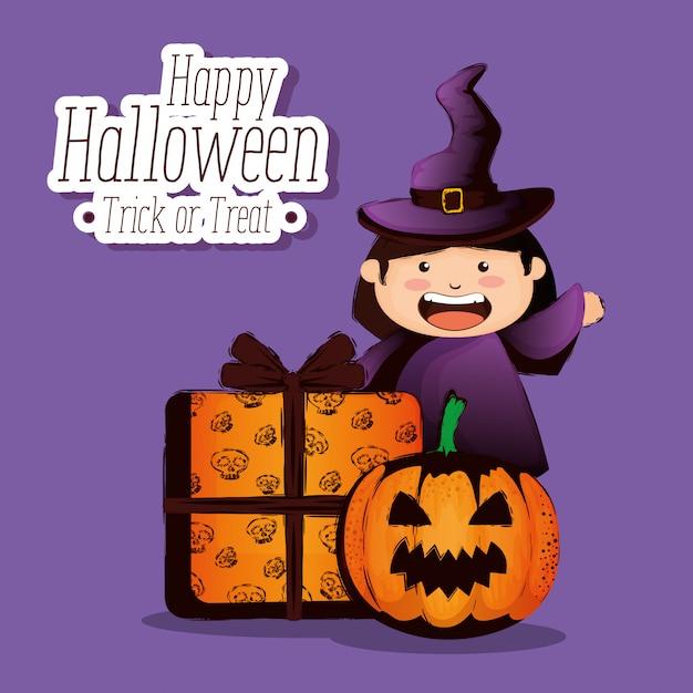Gelukkig halloween met kleine heks Gratis Vector
