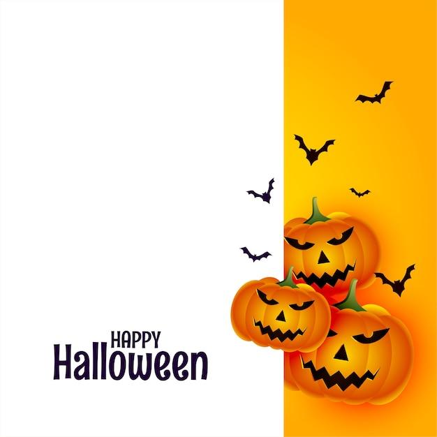 Gelukkig halloween met pompoen en vleermuizen op witte achtergrond Gratis Vector