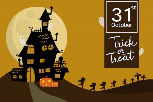 Gelukkig halloween met spookhuis, zombies en enge geest. Premium Vector