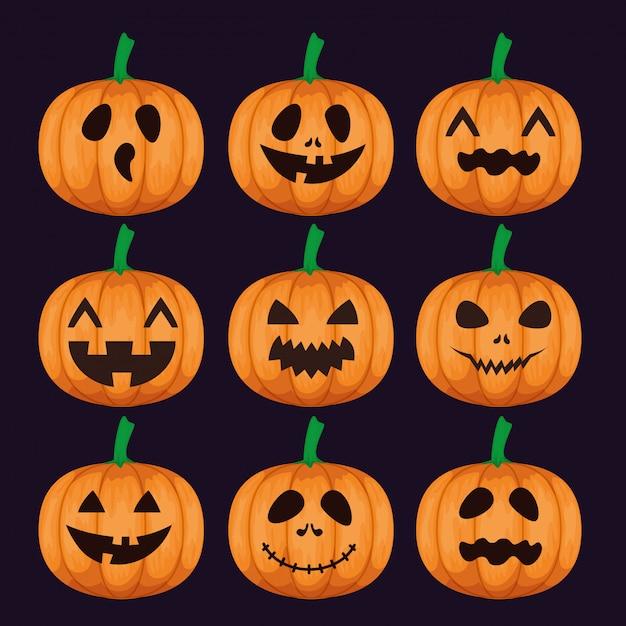 Gelukkig halloween met vastgestelde pompoenen Gratis Vector