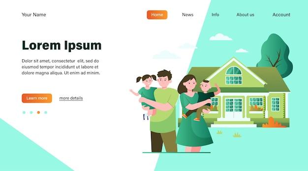 Gelukkig jong gezin staan voor huis platte vectorillustratie. cartoon moeder, vader en kinderen samen buiten. saamhorigheid, liefde, huis en geluk concept Gratis Vector