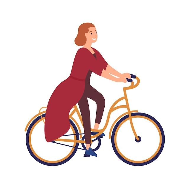 Gelukkig jong vrouw of meisje gekleed in vrijetijdskleding fiets rijden. glimlachend vrouwelijk personage op de fiets Premium Vector