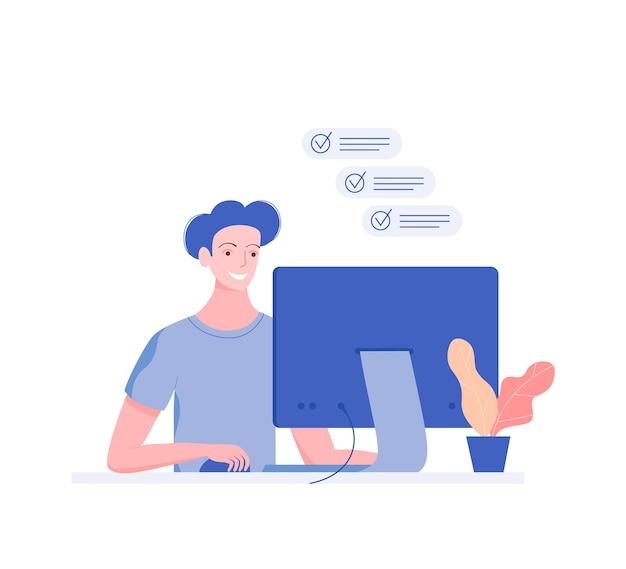 Gelukkig jonge man aan het werk op de computer. te doen lijst. trendy vlakke stijl. Premium Vector