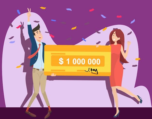 Gelukkig jongen en meisje winnen miljoen dollar Gratis Vector