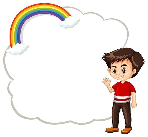 Gelukkig jongen en wolkenmalplaatje Gratis Vector