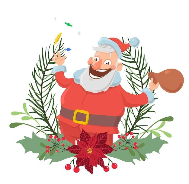 Gelukkig kerstman karakter in een kerstkrans glimlachend en zwaaiende hand. , geïsoleerd op een witte achtergrond. Premium Vector