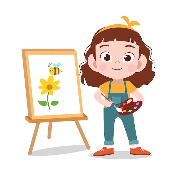 Gelukkig kind tekenen bloem schilderij Premium Vector