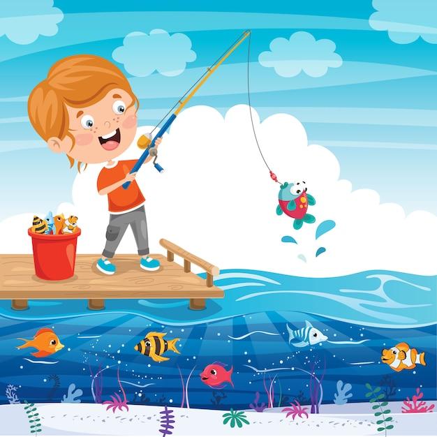 Gelukkig klein kind vissen op pier Premium Vector