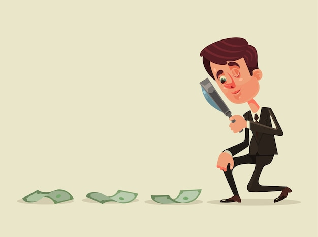 Gelukkig lachend succesvol zakenman kantoormedewerker karakter op zoek naar succes geld winst carrière concept ontwerp grafisch geïsoleerde illustratie Premium Vector