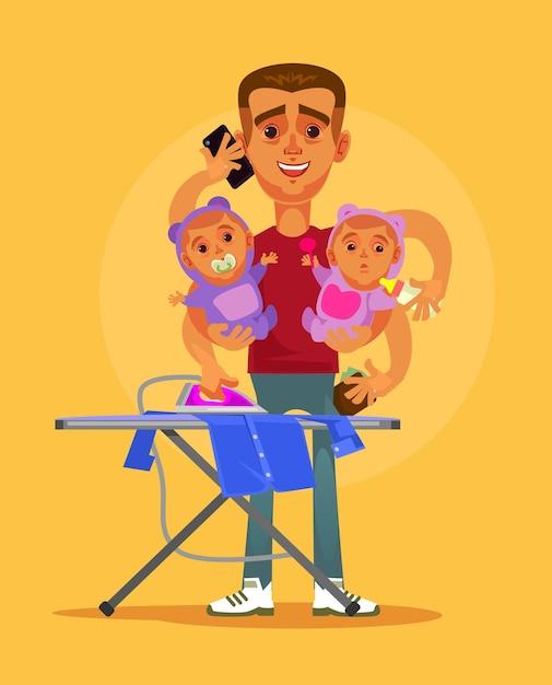 Gelukkig lachend superheld multitasking huisvrouw man karakter doet al het huiswerk en zorgt voor twee kinderen. Premium Vector
