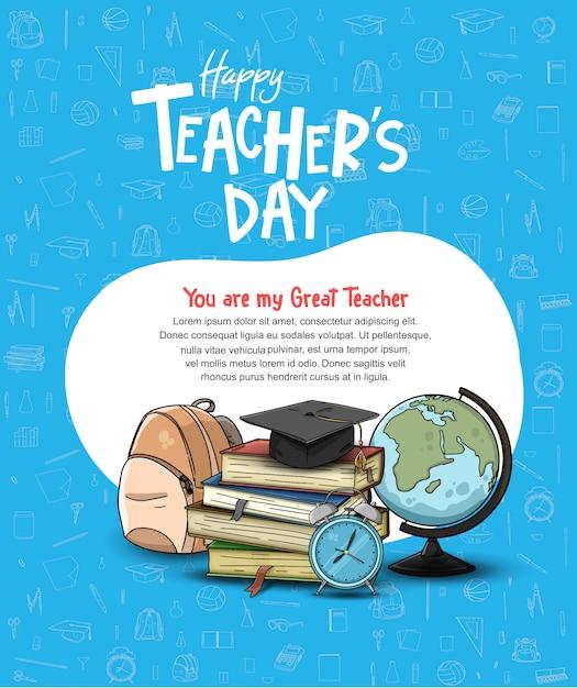 Gelukkig leraar dag poster sjabloon Premium Vector