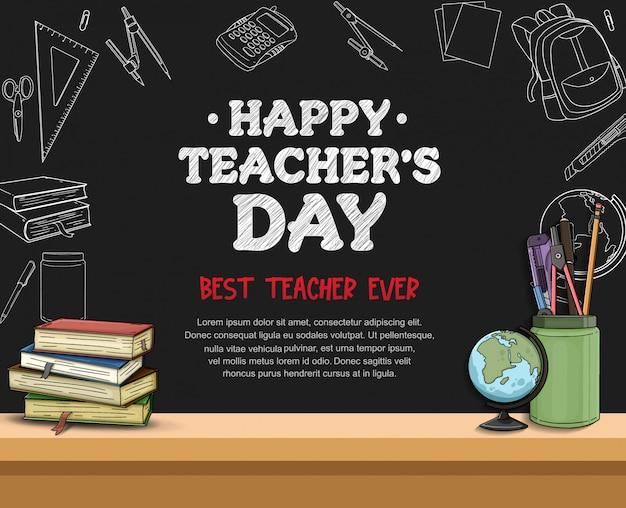 Gelukkig leraar dag sjabloon voor spandoek Premium Vector