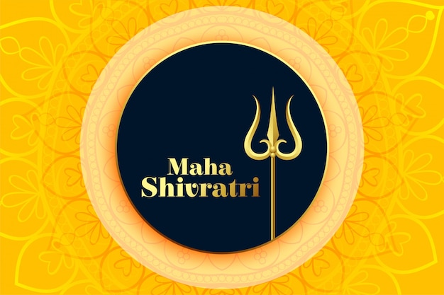 Gelukkig maha shivratri festival van lord shiva wenskaart Gratis Vector