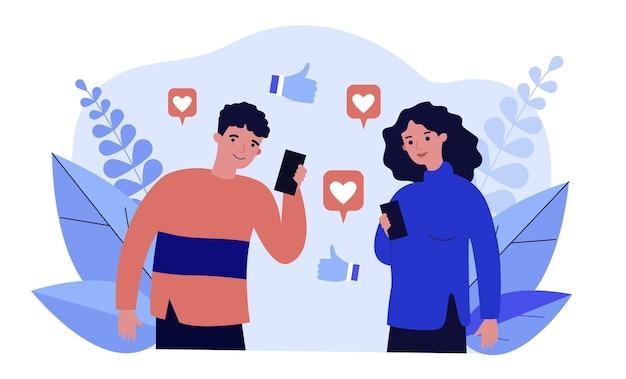 Gelukkig man en vrouw kijken naar likes op sociale media. smartphone, duim omhoog, internet platte vectorillustratie Premium Vector