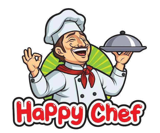 Gelukkig mannelijke chef-kok Premium Vector