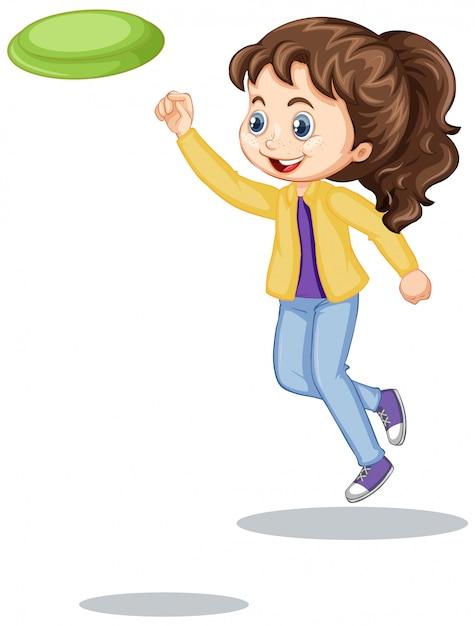 Gelukkig meisje dat geïsoleerde frisbee speelt Gratis Vector