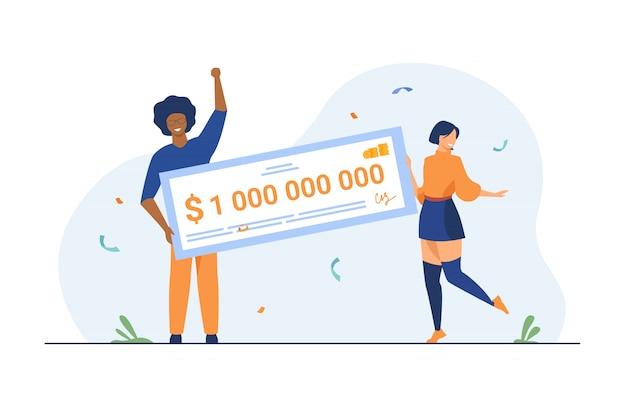 Gelukkig meisje en jongen die miljard contant geld winnen Gratis Vector