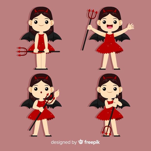 Gelukkig meisje in het kostuum van de duivel met vlak ontwerp Gratis Vector