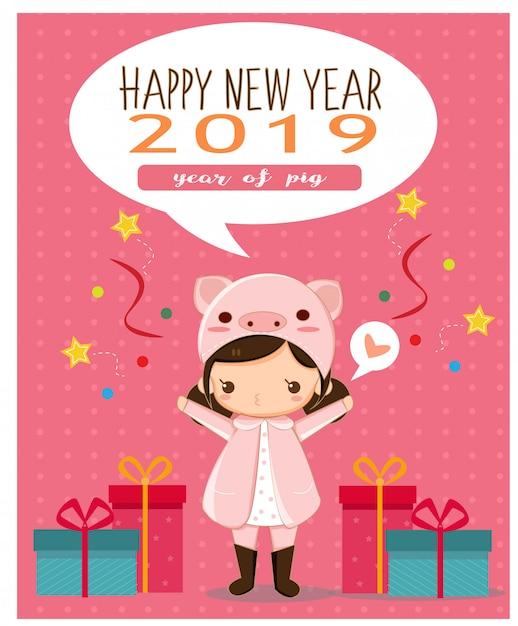 Gelukkig meisje in roze varkenskostuum voor nieuwe jaarkaart Premium Vector