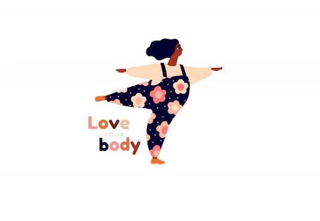 Gelukkig meisje. lichaam positieve kaart. houd van jezelf, je lichaam belettering type. vrouwelijke vrijheid, girl power of internationale vrouwendag illustratie. Premium Vector