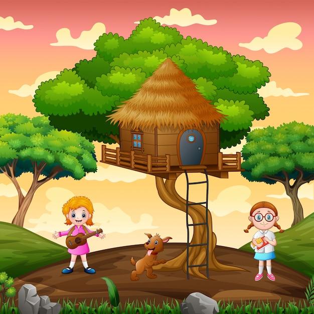 Gelukkig meisje spelen in de boomhut Premium Vector