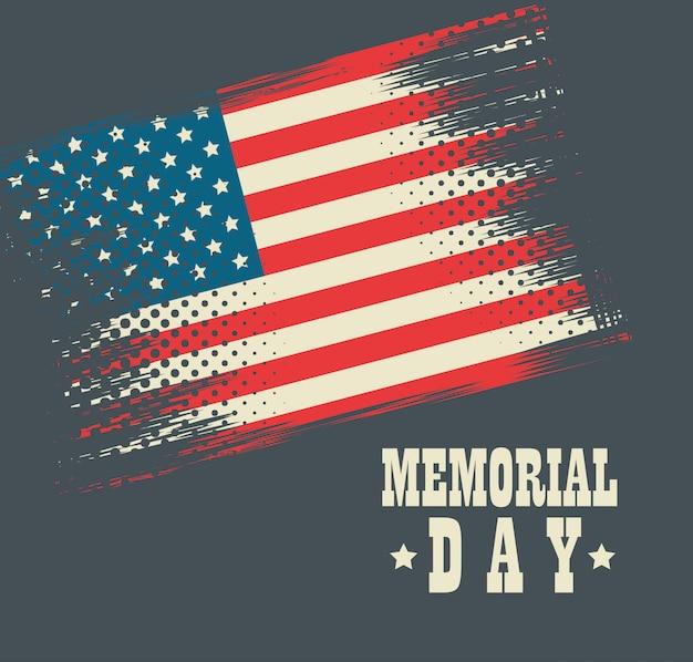 Gelukkig memorial day viering kaart met usa vlag Premium Vector
