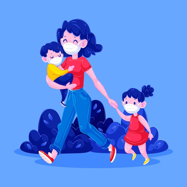 Gelukkig moeder en kinderen lopen Gratis Vector