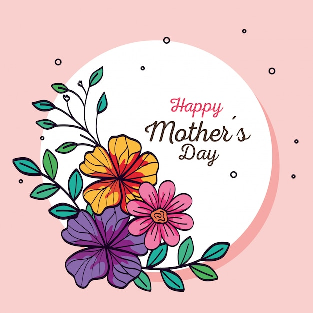 Gelukkig moederdag kaart en frame circulaire met bloemen decoratie Gratis Vector