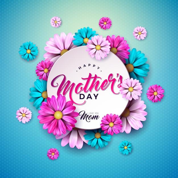 Gelukkig moederdag wenskaart ontwerp met bloem en typografie brief op blauwe achtergrond. viering illustratie sjabloon voor spandoek, flyer, uitnodiging, brochure, poster. Gratis Vector