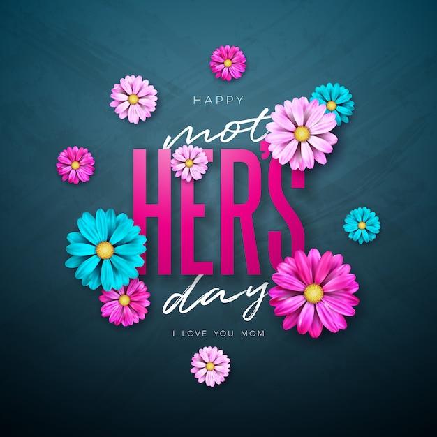 Gelukkig moederdag wenskaart ontwerp met bloem en typografie brief Gratis Vector