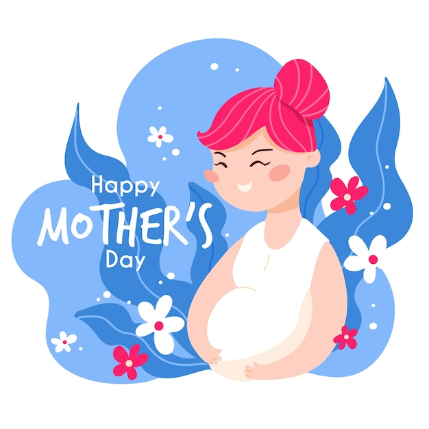 Gelukkig moederdag zwangere vrouw plat ontwerp Gratis Vector