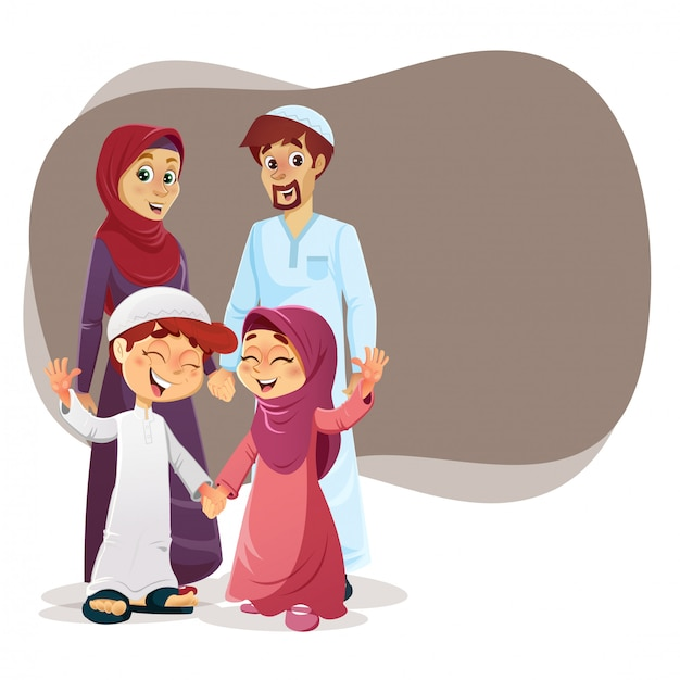 Gelukkig moslim gezin Premium Vector