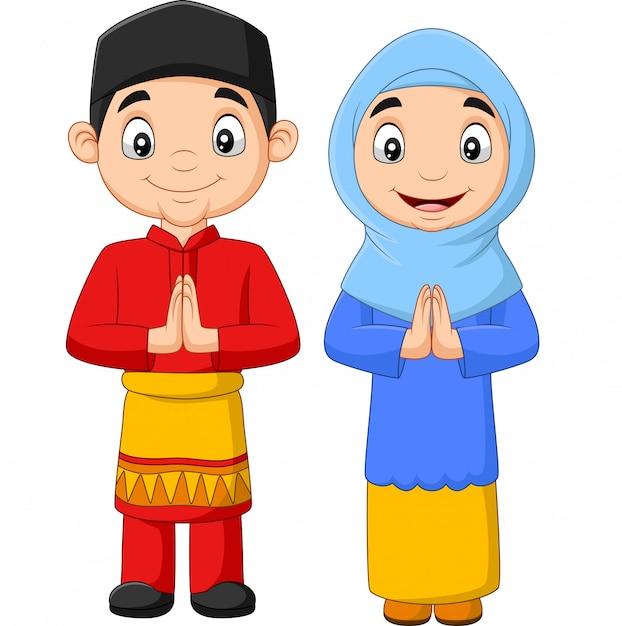 Gelukkig moslim kinderen cartoon Premium Vector