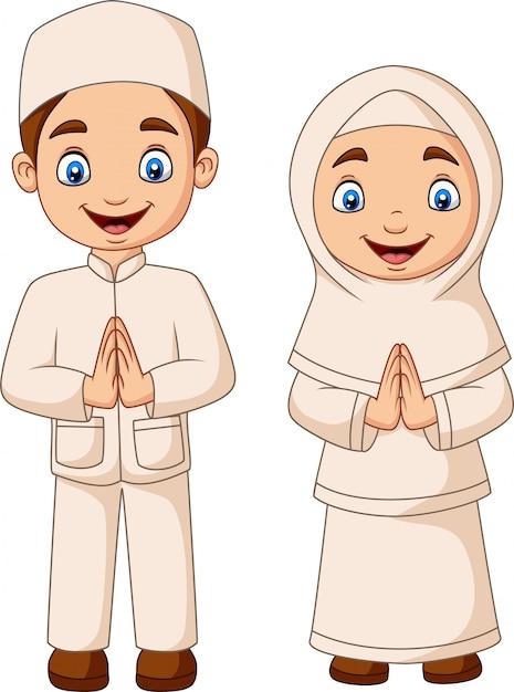 Gelukkig moslimjong geitjebeeldverhaal op witte achtergrond Premium Vector