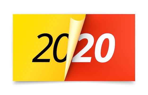 Gelukkig nieuw 2020-jaarconcept Premium Vector