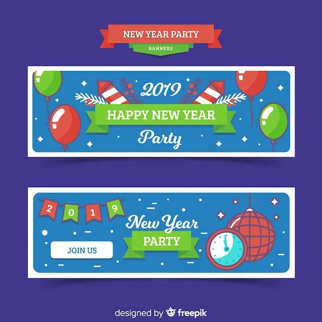 Gelukkig nieuw jaar 2019 banner Gratis Vector