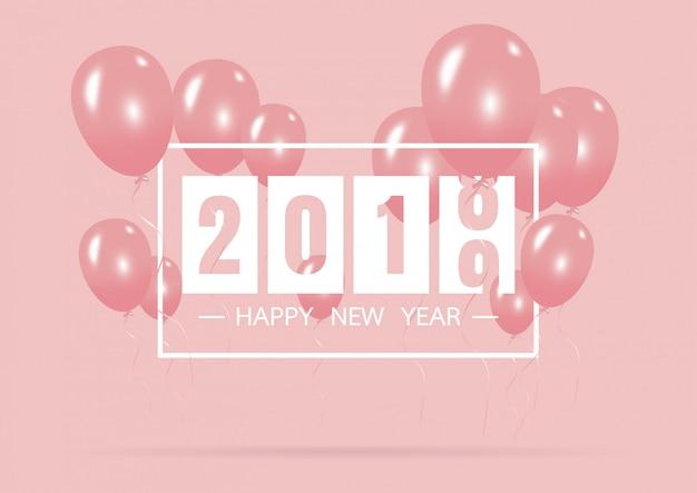 Gelukkig nieuw jaar 2019 met creatief roze ballonconcept Premium Vector