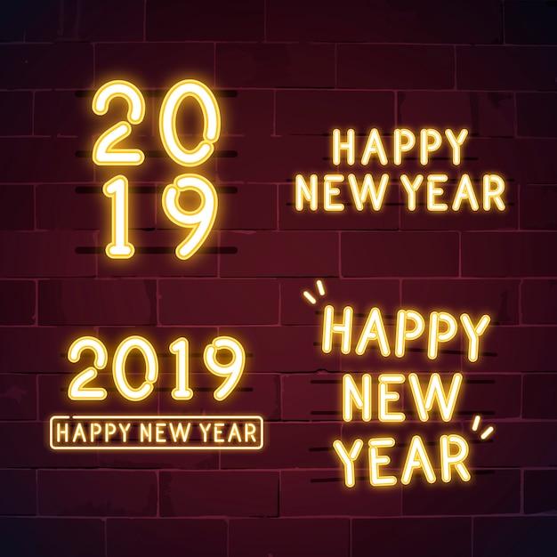 Gelukkig nieuw jaar 2019 neon teken vector set Gratis Vector