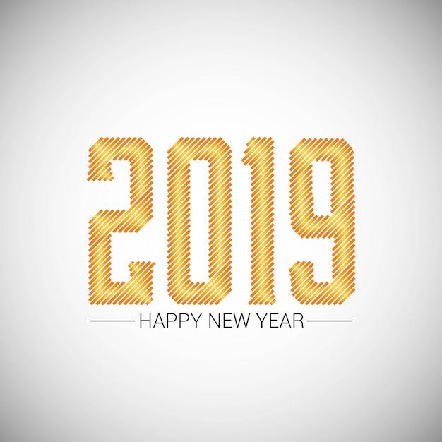 Gelukkig nieuw jaar 2019 ontwerp met witte achtergrond Gratis Vector